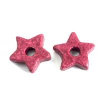 Keramikstjerne, bordeaux, ca. 9,5 mm, 10 stk.