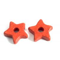 Keramikstjerne, tomatrød, ca. 9,5 mm, 10 stk.