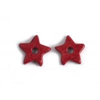 Keramikstjerne, rød, ca. 9,5 mm, 10 stk.