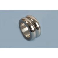 Perle m/riller, 10x5 mm, rustfrit stål, 1 stk.
