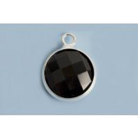 Vedhæng m/krystal, 16x13x5 mm, FS, sort ,1 stk.