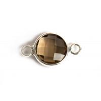 Vedhæng m/krystal og to øskner, 15x8x3,5 mm, FS, brun, 1 stk.