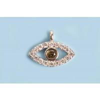 Evil eye m/rhinsten, 8x11x2 mm, FS, 1 stk.