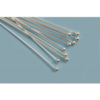 Perlestave m/1 perle, 50x0,5 mm, hoved 1,5 mm, 925s, 10 stk.