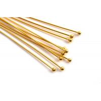 Perlestav m/1 perle, 50x0,5 mm, hoved 1,5 mm, FG 925s, 10 stk.