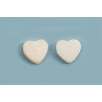 Shell pearls, hjerte, hvid, ca. 10x11x3 mm, 2 stk.