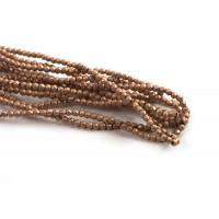 Hæmatit, rund, facet, kobberfarvet, 2 mm, 1 streng