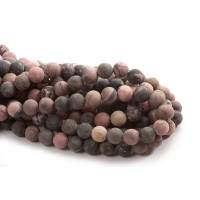 Rhodonite, mat, 10 mm, 1 streng