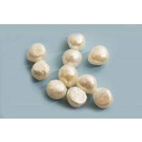 Ferskvandsperler, Keshi, hvid, ca. 9-12x7-8 mm, 10 stk.