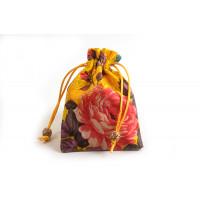 Smykkepose, silke, ca. 14x10 cm, gul, 1 stk.