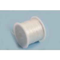 Elastiktråd, flad, gennemsigtig, 0,5 mm, ca. 45 meter