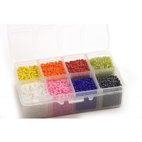 Seed beads, 2 mm, 12/0, farvemix, ca. 12.500 stk.