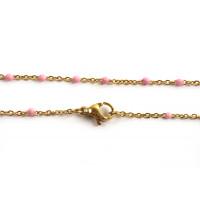 Halskæde m/lyserøde emaljeperler, 45,5 cm, FG rustfrit stål, 1 stk.