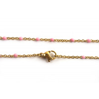Halskæde m/lyserøde emaljeperler, 45,5 cm, FG, 1 stk.