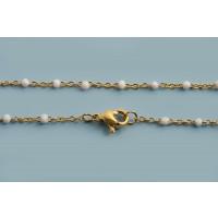 Halskæde m/hvide emaljeperler, 45,5 cm, FG rustfrit stål, 1 stk.