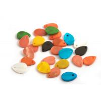 Shell pearls, dråbe, farvemix, ca.13x9x2 mm, 25 stk.
