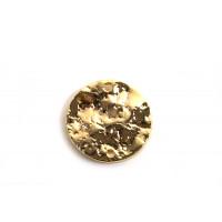 Mønt m/2 huller, banket, 13x1,5 mm, FG med 18K guld, 2 stk.