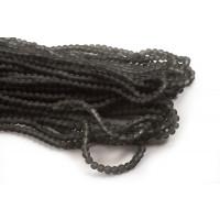 Glasperle, frosted, 4 mm, grå, 1 streng