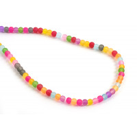 Glasperle, frosted, 4 mm, multicolour, 1 streng