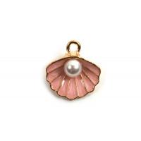 Muslingeskal m/perle, 15,5x14,5x6 mm, FG, lyserød, 2 stk.