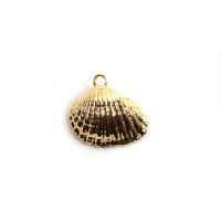 Muslingeskal, ca. 13,5x5 mm, forgyldt med 18K guld, 1 stk.