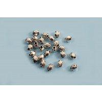 Perle, facet, 3,5x3,5 mm, antiksølv, 25 stk.