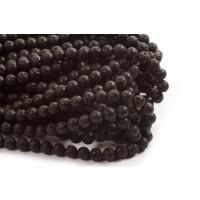 Lavasten, rund, blank, sort, 8 mm, 1 streng