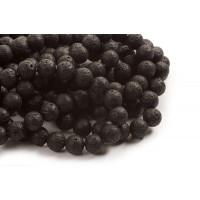 Lavasten, rund, blank, sort, 12 mm, 1 streng
