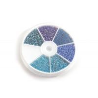 Seed beads, 3 mm, blå farver, ca. 1200 stk.