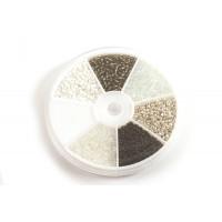 Seed beads, 2 mm, 12/0, grå/sort/hvid/sølv, ca. 2100 stk.