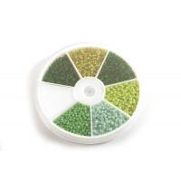Seed beads, 2 mm, 12/0, grønne farver, ca. 2100 stk.