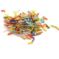 Glasperler, rør, 6x1,8 mm, multicolour, ca. 30 gram