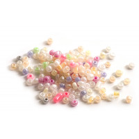 Seed beads, ca. 3 mm, multicolour med shine, ca. 15 gram