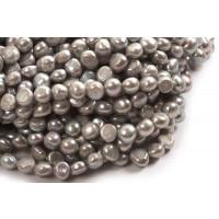 Ferskvandsperler, barok, lys grå, ca. 10-11 mm, 1 streng
