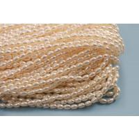 Ferskvandsperler, rice, hvid, ca. 3-4 mm, 1 streng