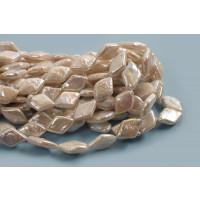 Ferskvandsperler, harlekintern, ca. 15x10 mm, hvid, 1 streng