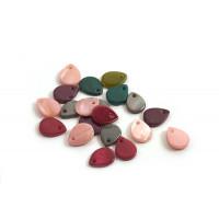 Shell pearls, dråbe, farvemix, ca. 10x8x2 mm, 20 stk.