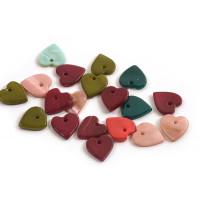 Shell pearls, hjerte, farvemix, ca. 12x10x2 mm, 20 stk.