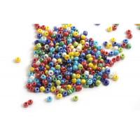 Seed beads, ca. 3 mm, multicolour med shine, ca. 15 gram