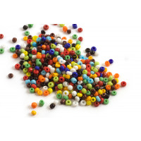 Seed beads, ca. 3 mm, multicolour, ca. 15 gram