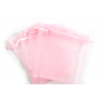 Smykkepose, organza, pink, ca. 150x110 mm, 5 stk.