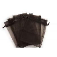 Smykkepose, organza, sort, ca. 150x110 mm, 5 stk.