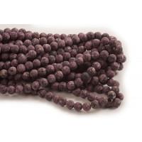 Labradorite, mat, ca. 8 mm, lilla farver, 1 streng