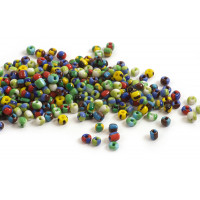 Seed beads, ca. 3.5-4x2,5-3 mm, multicolour, ca. 50 gram