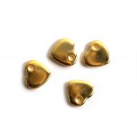 Hjerte, 5x6x1 mm, FG rustfrit stål, 6 stk.