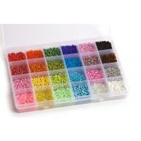 Seed beads, 3 mm, 8/0, farvemix, ca. 290 gram, 1 æske