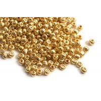 Seed beads, ca. 3,5-5,5 mm, guldfarvede, ca. 50 gram