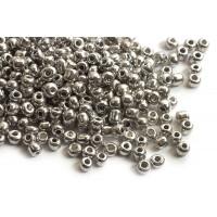 Seed beads, ca. 3,5-5,5 mm, sølvfarvede, ca. 50 gram