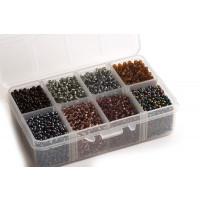 Seed beads, 2x3 mm, 8/0, farvemix, ca. 4.200 stk.