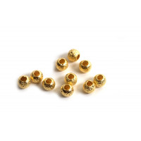 Perle, stardust, 3 mm, forgyldt med 18K guld, 10 stk.